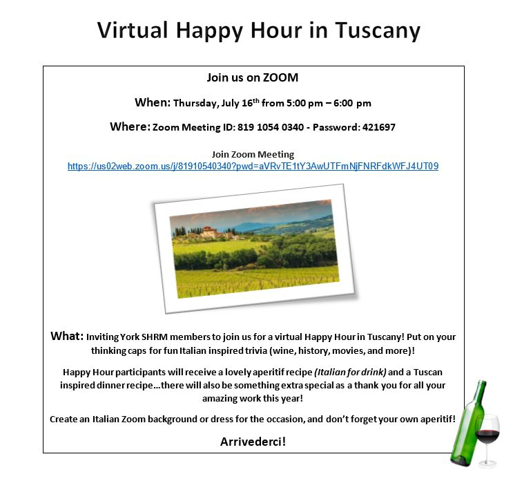 Virtual Happy Hour in Tuscany